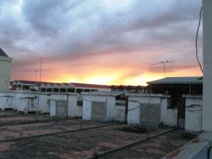 Sunset over Mr Boil's roof
