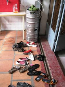 Sure sign of a party - flip flop stack and kegs...