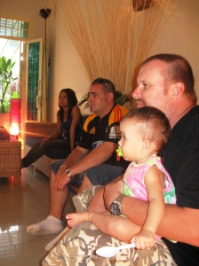 Grace watching her first Bledisloe Cup with Dad and God parents Mark and Srey Touche