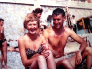 With my mum on the beach in Europe circa 1954-same year my mum did the cover of Vanity Fair magasine